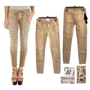 Current Elliott leopard skinny jeans